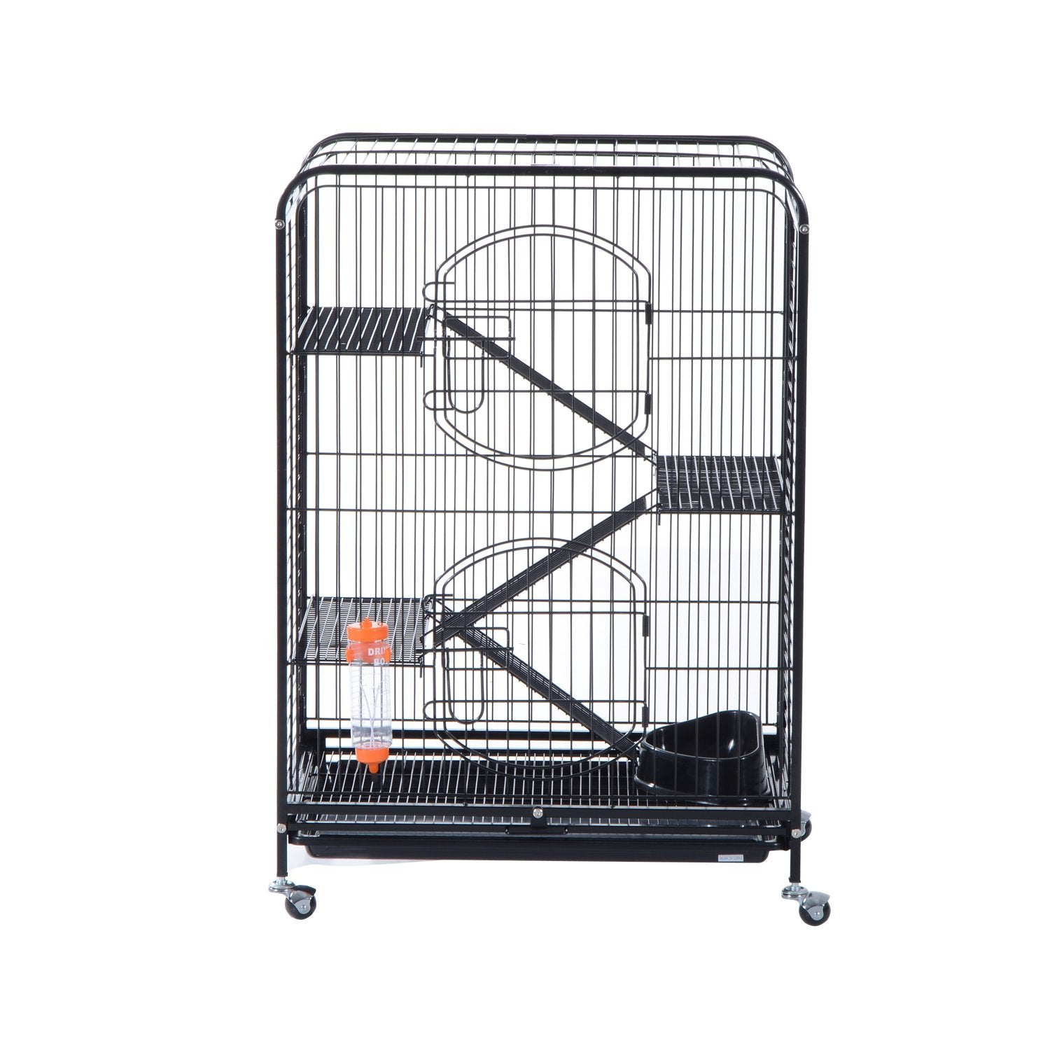 "Pet Cage 37"" 2 Doors Tray Metal Cat Rabbit House For Animal Supply Kit Black"