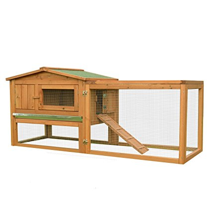 PawHut Wooden Rabbit Hutch Cage Bunny House Chicken Coop Habitats with Run
