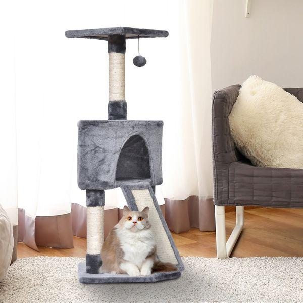 PawHut Sisal Scratching Posts Condo Cat Tree 3-Level Cat Tower W/ Ladder
