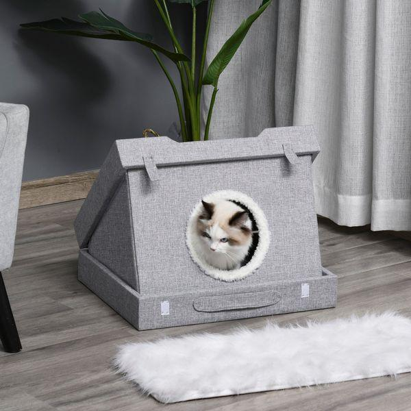 PawHut Wooden Cat House Foldable Kitten Cave 2 In 1 Design Condo Pet Bed with Soft Removable Washable Cushions Scratching Pad Suitcase Style Easy to Carry Grey