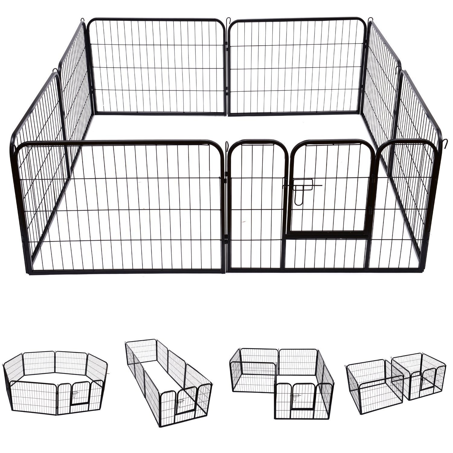 "Pawhut Octagon or Rectangle 24"" 8 Panel Pet Playpen (Metal-Black)"