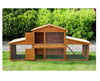 PawHut Wooden Rabbit Hutch with Outdoor Run Backyard Bunny Cage