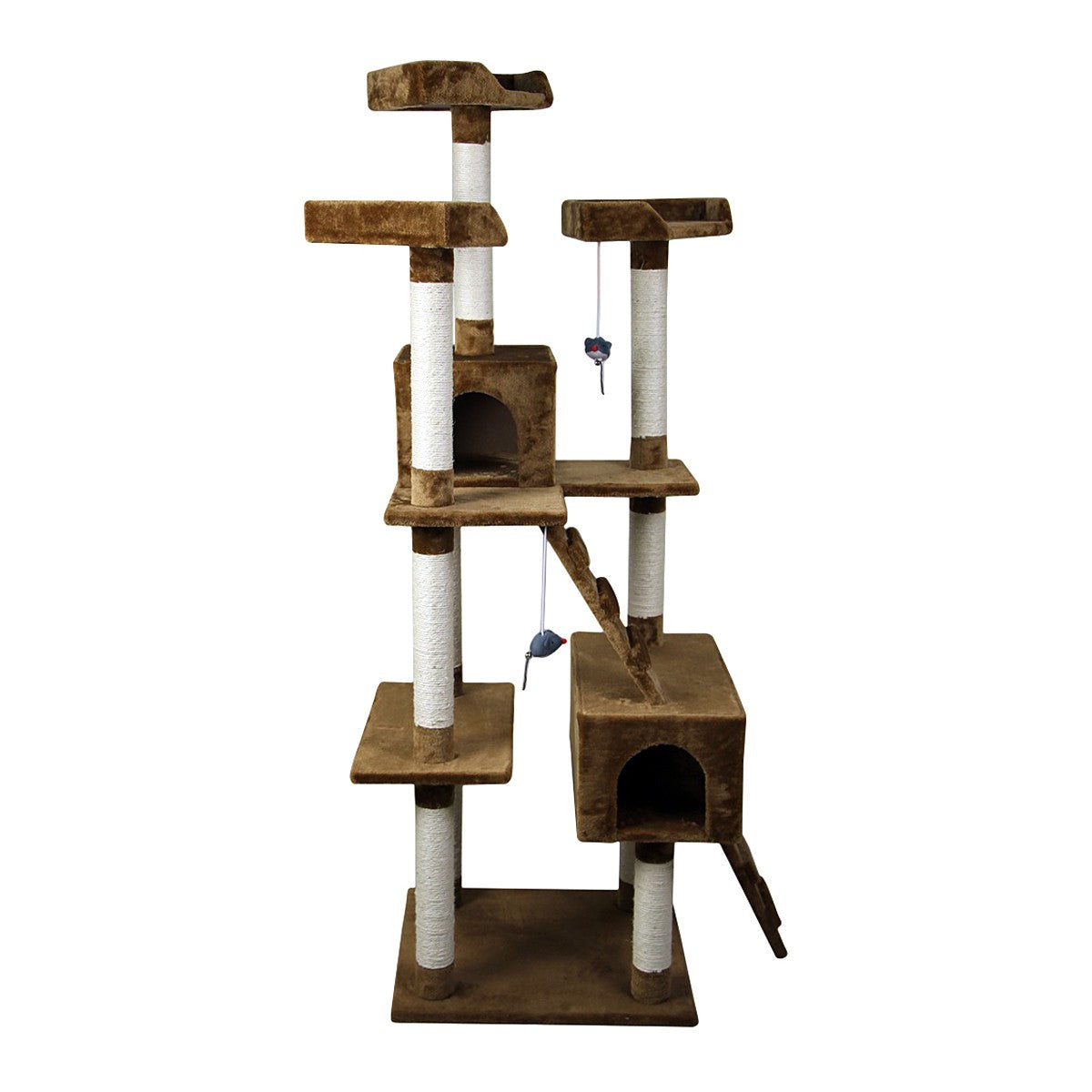 PawHut Multi-level Cat Tree Furniture Condo Scratching Playground with Condo-Brown