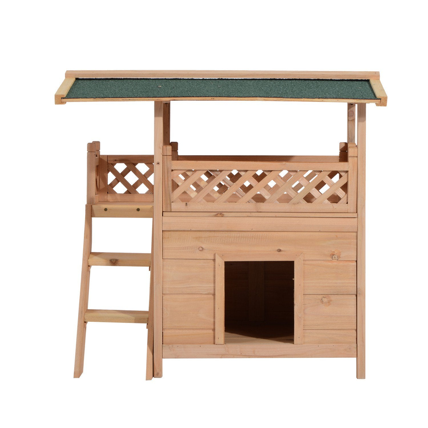 Wood House Condo Cat Tree Puppy Bed Crate Shelter Play Furniture with Roof Stairs
