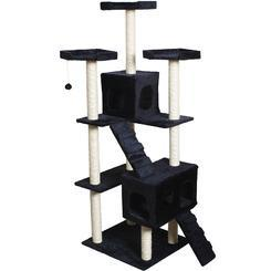 Pawhut Tall Multi-level Cat Scratcher Tree Condo Furniture Play Tower Climber Black