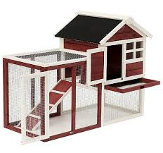 PawHut Wooden Rabbit Hutch/Chicken Coop With Ladder and Outdoor Run