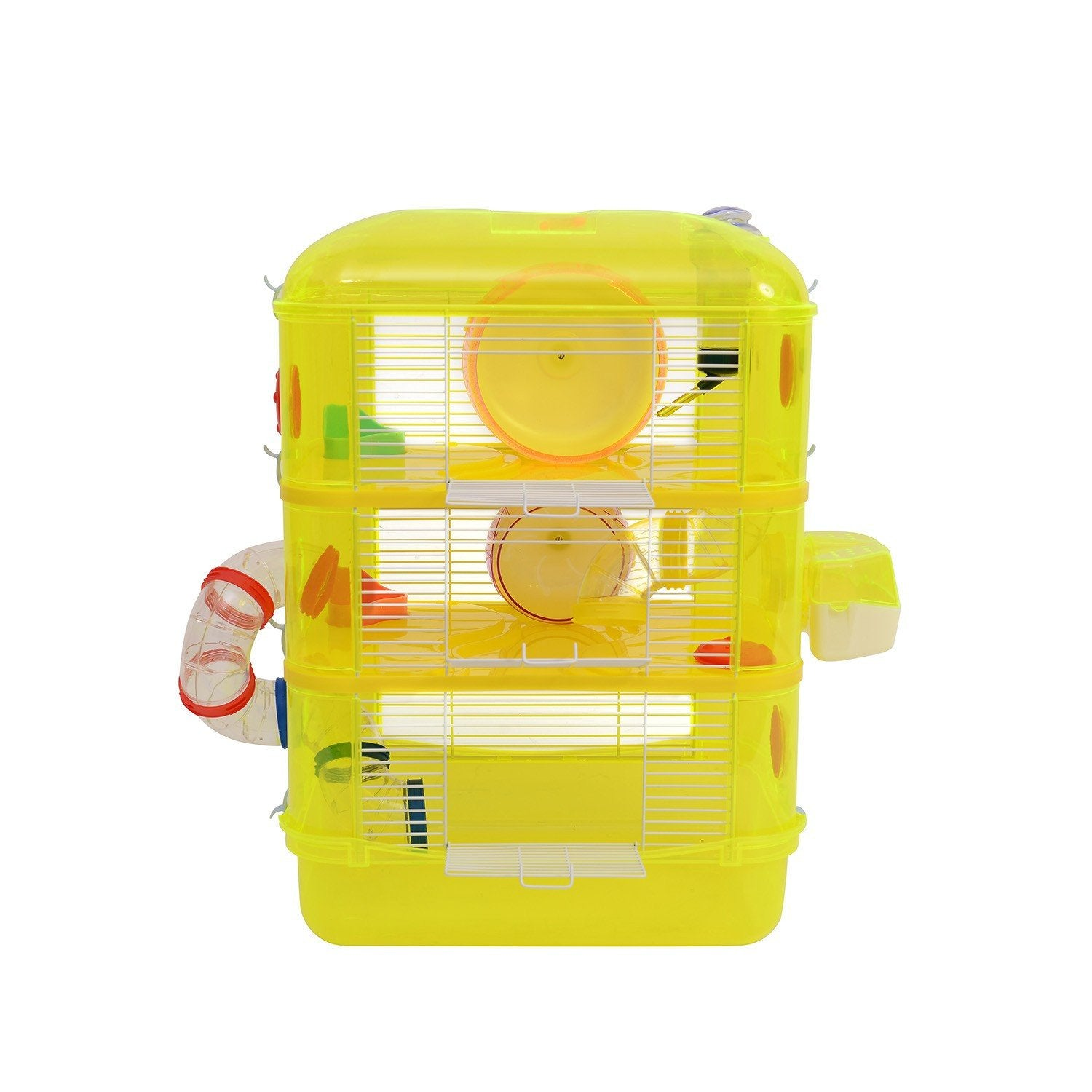 Yellow Hamster Cage-Three Level PawHut