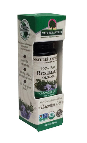 Natures Answer USDA Organic Rosemary Essential Oil, 100% Pure 0.5 FL OZ