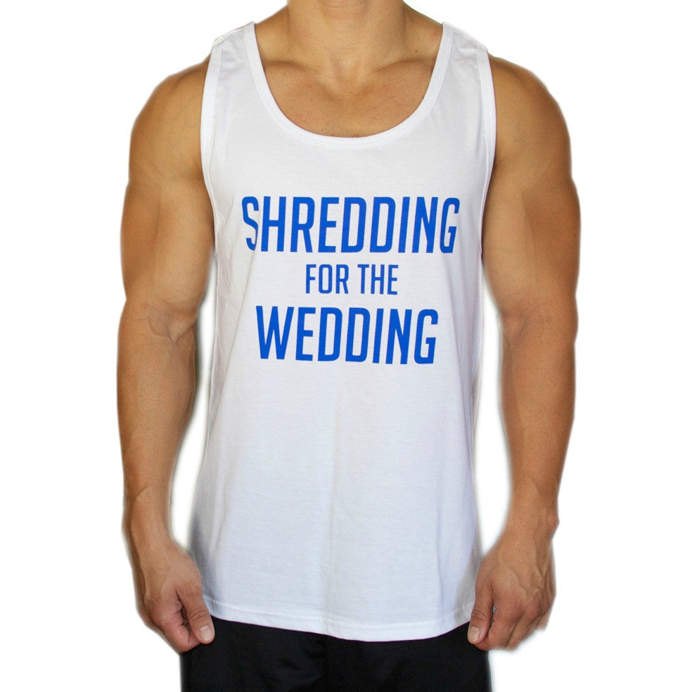 Shredding for the Wedding Men's Workout Tank - BLUE and WHITE