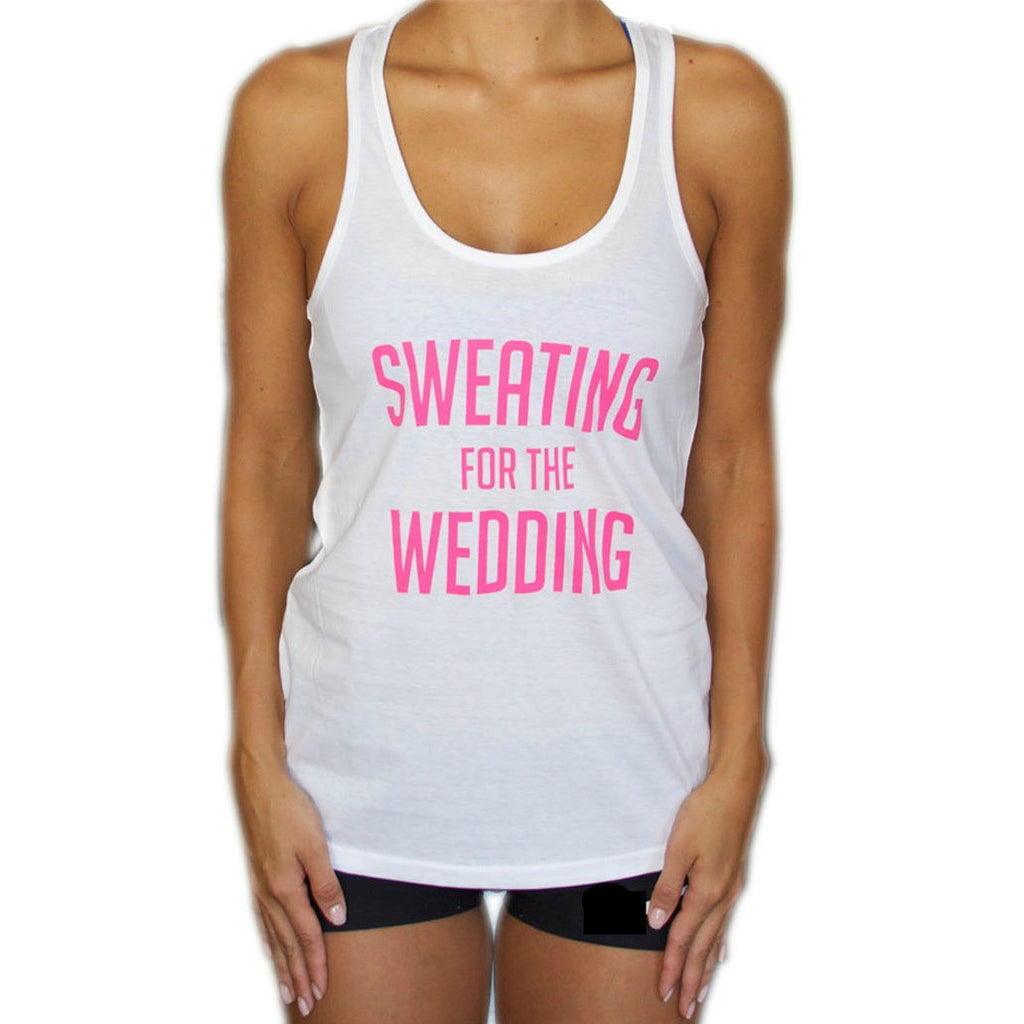 Sweating for the Wedding Workout Tank Top - PINK and WHITE