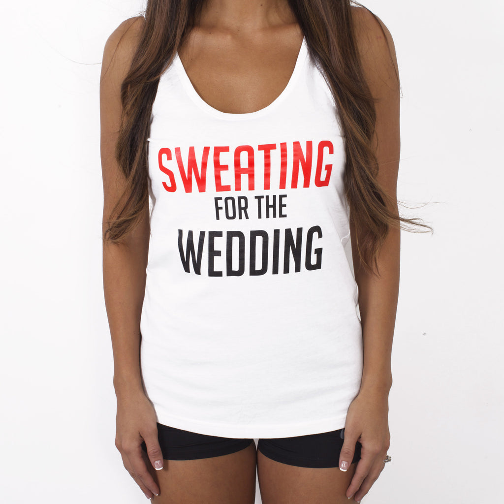 Sweating for the Wedding Workout Tank Top - RED and WHITE