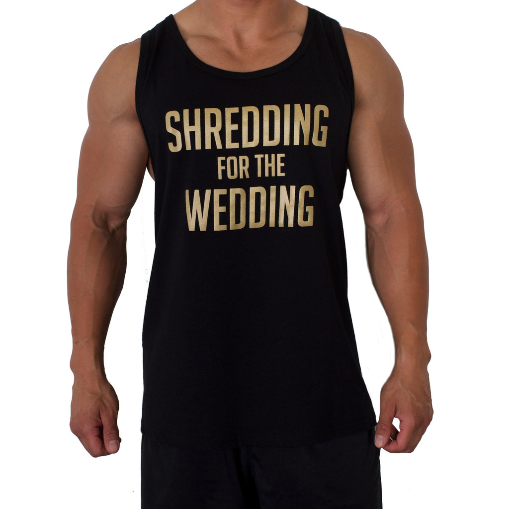 Shredding for the Wedding Men's Workout Tank - GOLD and BLACK
