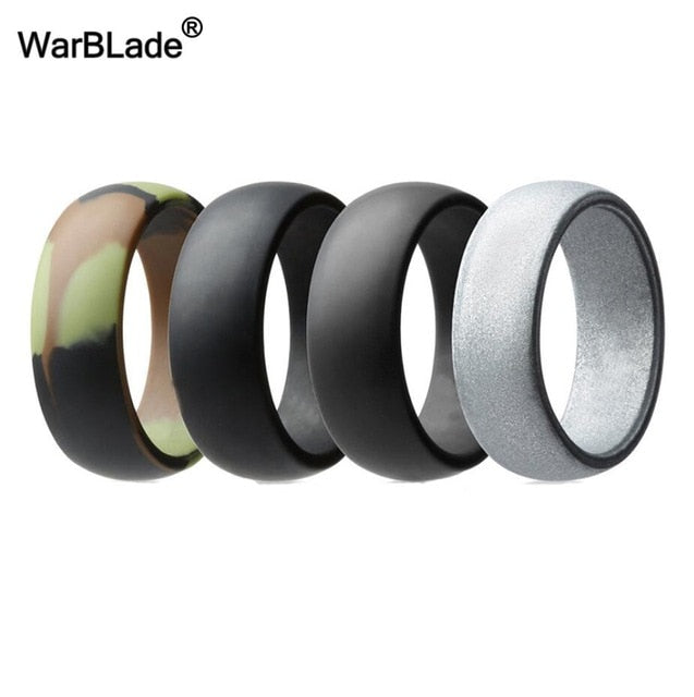 WarBLade New 4pcs/set Hypoallergenic Flexible Silicone Rings For Men Wedding Bands