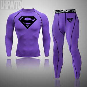 High Quality Superman Compression Mens Sport Suits