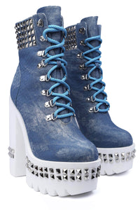 * BLUE * ANKLE BOOTS