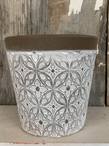 White Textured Flower Pot