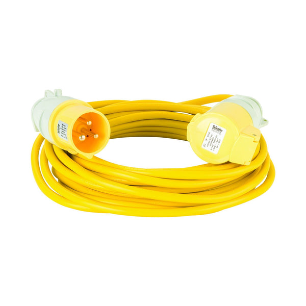 10M Extension Lead - 16A 1.5mm Cable - Yellow 110V - Extension Leads and Fly Leads - Trade Building Products