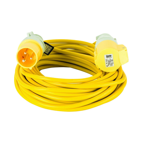 14M Extension Lead - 16A 1.5mm Cable - Yellow 110V - Extension Leads and Fly Leads - Trade Building Products
