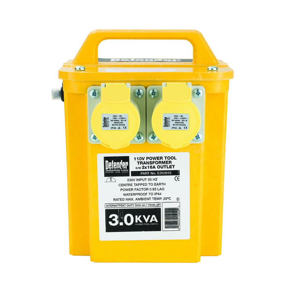 3kVA Transformer 2x 16A Outlets 110V - Transformers - Trade Building Products