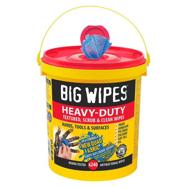 Big Wipes Heavy Duty 4x4 Antibacterial Wipes - 240 Tub - Cleaners - Trade Building Products