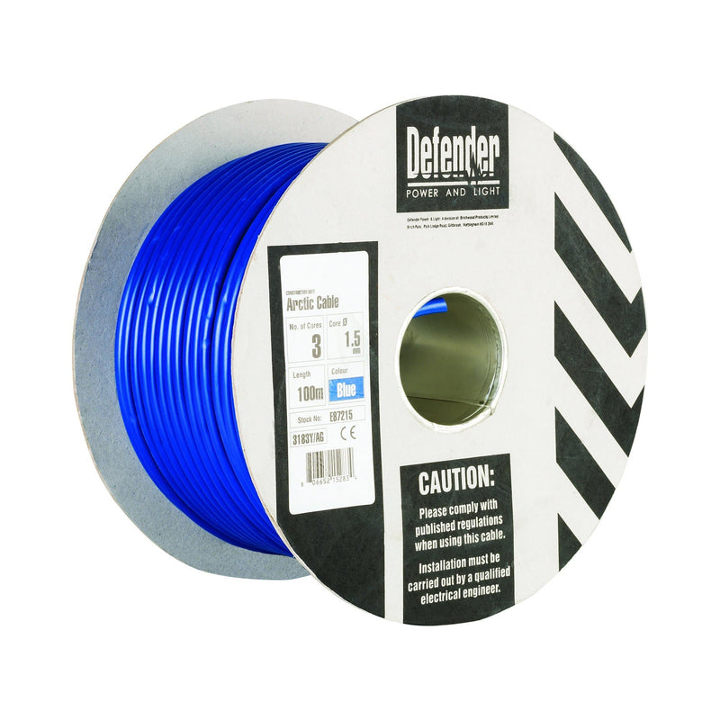 Defender 1.5mm 100M 3 Core Cable Drum 240V - Cable Drum - Trade Building Products