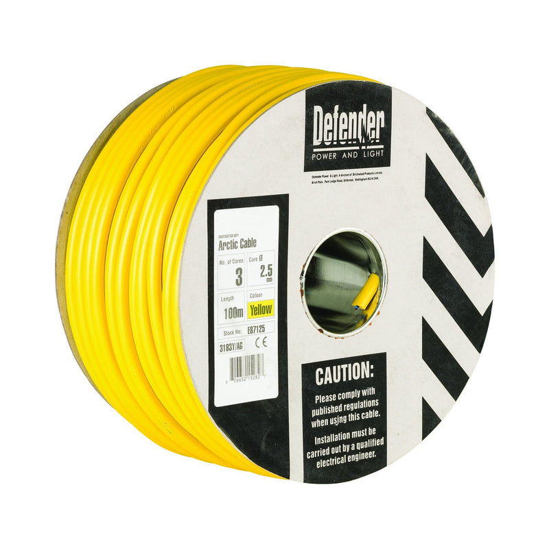 Defender 2.5mm 100M 3 Core Cable Drum 110V - Cable Drum - Trade Building Products