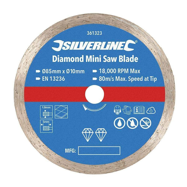 Diamond Mini Saw Blade - 85mm Dia - 10mm Bore - Power Tools - Trade Building Products