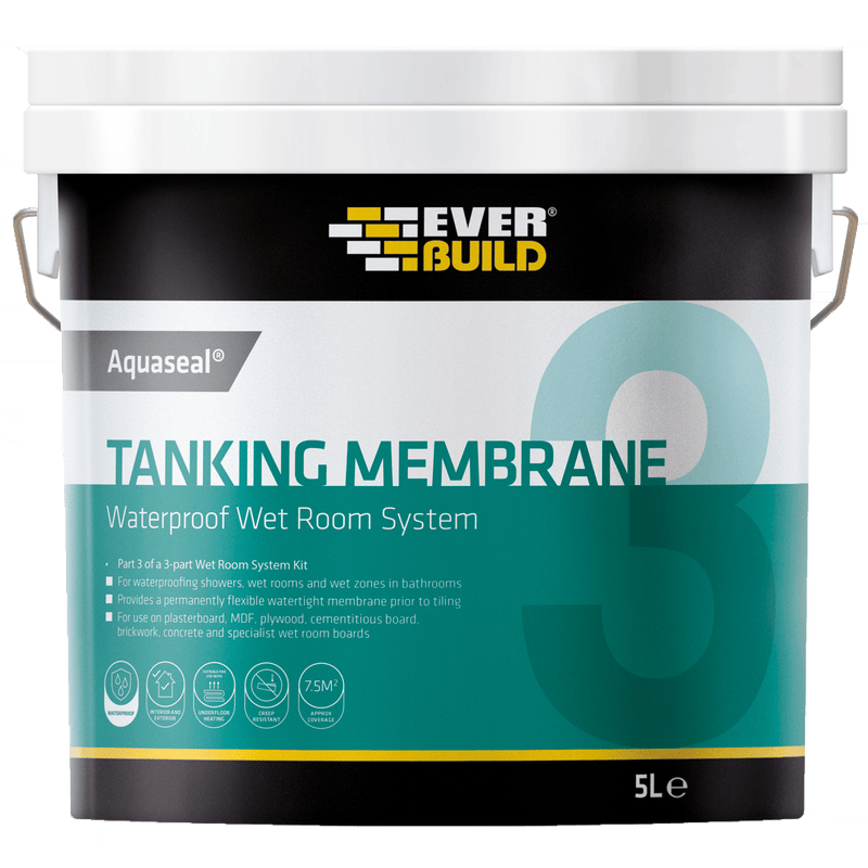 Everbuild Aquaseal Waterproof Tanking Membrane - 5L - Wet Room Kit - Trade Building Products