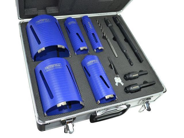 Faithfull Diamond Dry Core Set - 11 Piece - Diamond Core Drill - Trade Building Products