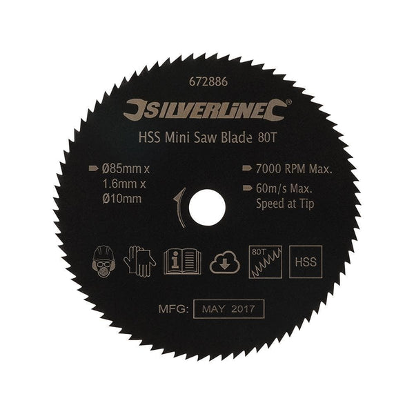 HSS Mini Saw Blade - 85mm Dia - 10mm Bore - 80T - Power Tools - Trade Building Products