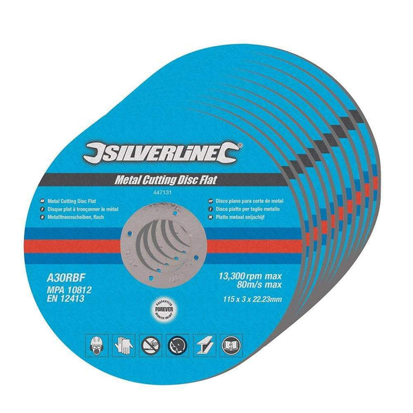 Metal Cutting Discs Flat - 115mm - 10pk - Power Tool Accessories - Trade Building Products