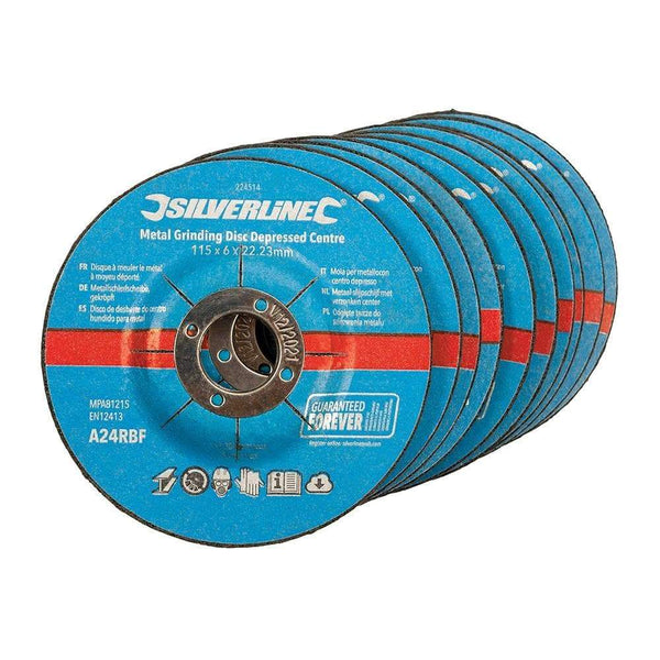 Metal Grinding Discs Depressed Centre - 115mm - 10pk - Power Tool Accessories - Trade Building Products