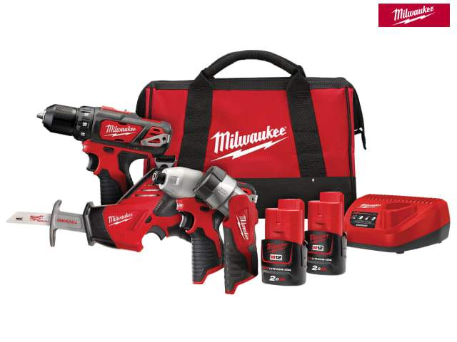 Milwaukee M12 BPP4A-202C 4 Piece Kit 12V 2 X 2.0Ah Li-Ion - Power Tools - Trade Building Products