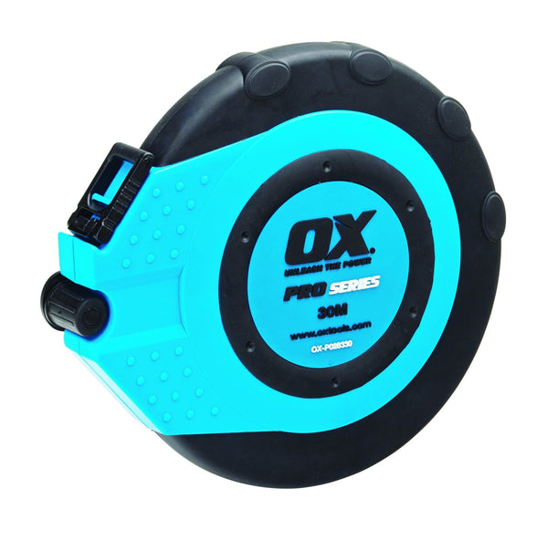 Ox Pro Fibreglass Closed Reel Tape - 30M / 100FT - Tape Measure - Trade Building Products
