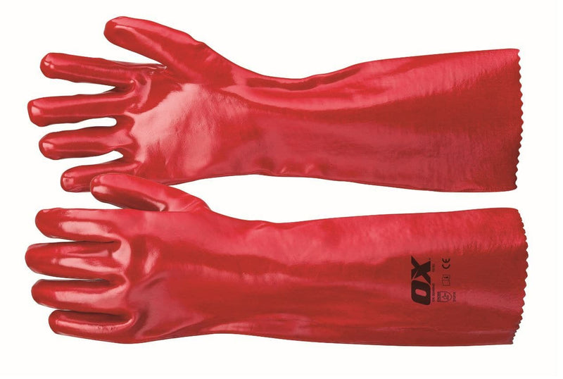 OX Red PVC Gauntlets - Safety Gloves - Trade Building Products