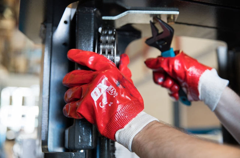OX Red PVC Knit Wrist Gloves - Safety Gloves - Trade Building Products