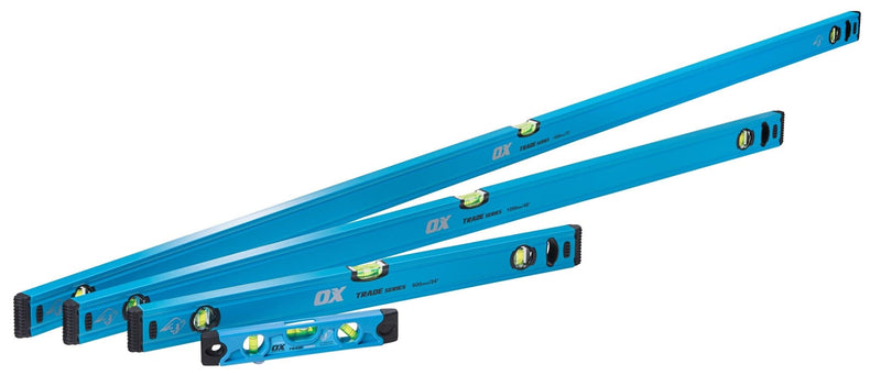 OX Trade 4 Piece Level Set - 600, 1200 & 1800mm Trade Level and 230mm Torpedo Level - Spirit Level - Trade Building Products