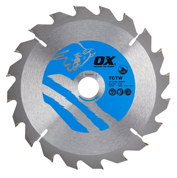OX Wood Cutting Circular Saw Blade 160/20mm, 20 Teeth ATB - Cutting Blade's - Trade Building Products