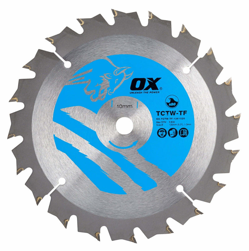 OX Wood Cutting Thin Kerf Circular Saw Blade 136/10mm, 20 Teeth ATB - Cutting Blade's - Trade Building Products