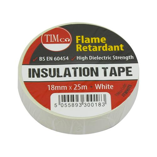 PVC Insulation Tape - 25m x 18mm - White - Fixings - Trade Building Products