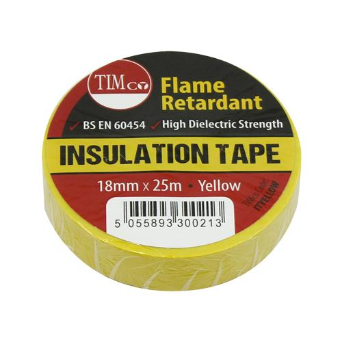 PVC Insulation Tape - Yellow - 25mx 18mm - Fixings - Trade Building Products