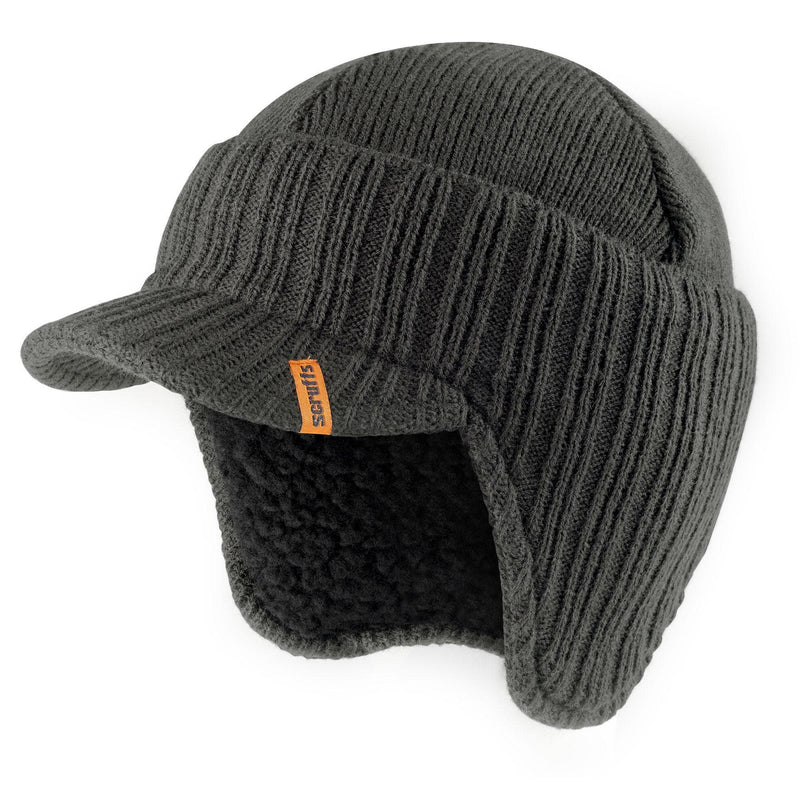 Scruffs Peaked Knitted Hat - Graphite - Hat - Trade Building Products