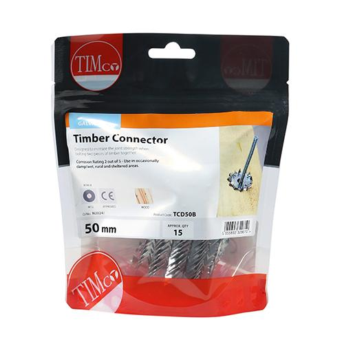 Timber Connectors - Double Sided - Galvanised - 50mm M12 - Pack 15 - Fixings - Trade Building Products