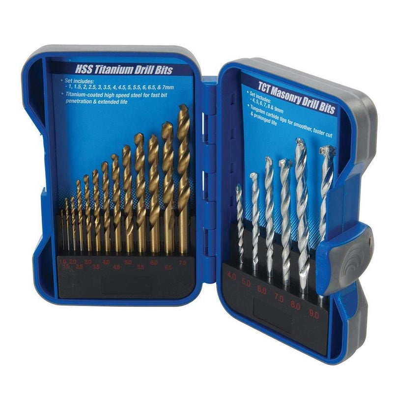 Titanium-Coated HSS & Masonry Drill Bit Set 19pce - Power Tools Accesories - Trade Building Products