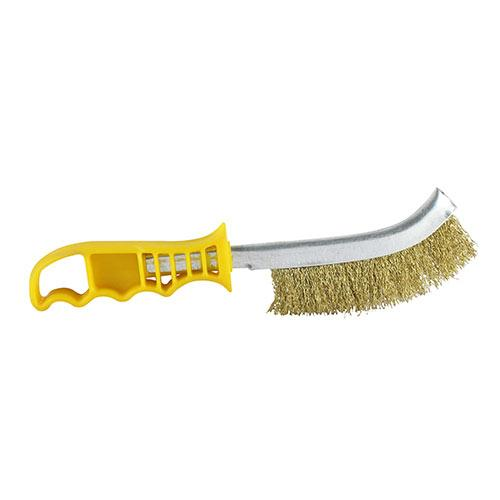 Yellow Wire Hand Brush - Brass - Fixings - Trade Building Products