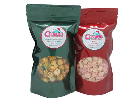 Cassie's Gourmet Popcorn 2 Pack 6 Cup Bags White Chocolate Peppermint and Caramel Pecan with Mint Chocolate Drizzle