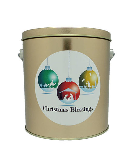 Cassie's Gourmet Popcorn 1 Gallon Tin Christmas Blessings