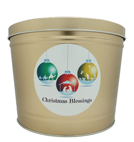 Cassie's Gourmet Popcorn 2 Gallon Tin Christmas Blessings