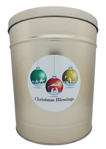Cassie's Gourmet Popcorn 3.5 Gallon Tin Christmas Blessings