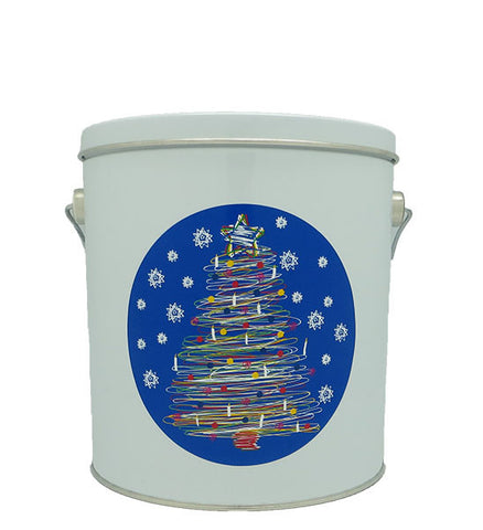 Cassie's Gourmet Popcorn 1 Gallon Tin Christmas Tree Swirl